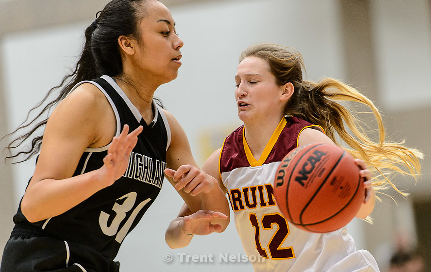 Trent Nelson  |  The Salt Lake Tribune<br /> Mountain View's Tiffany Peterson (12), defended by Highland's Fifita Tonga (31), as Mountain View faces Highland in the 4A state basketball tournament at Salt Lake Community College in Taylorsville, Tuesday February 17, 2015.