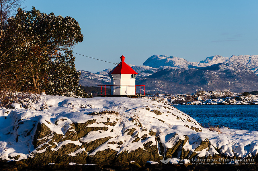 Norway, Stavanger. Lighthouse outside Storhaug on a cold December day.