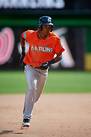 Miami Marlins Jose Devers (55) runs the bases during a Florida Instructional League game against the Washington Nationals on September 26, 2018 at the Marlins Park in Miami, Florida.  (Mike Janes/Four Seam Images)
