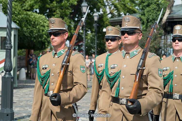 Guards in front of Sandor Palota (Alexander Palace), the Hungarian Presidential Palace at Buda Castle, Budapest.