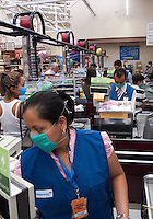 Shopping at a local supermarket during the outbreak of the swine flu, Mexico City.