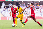Awer Mabil of Australia (L) fights for the ball with Saeed Almurjan of Jordan (R) during the AFC Asian Cup UAE 2019 Group B match between Australia (AUS) and Jordan (JOR) at Hazza Bin Zayed Stadium on 06 January 2019 in Al Ain, United Arab Emirates. Photo by Marcio Rodrigo Machado / Power Sport Images