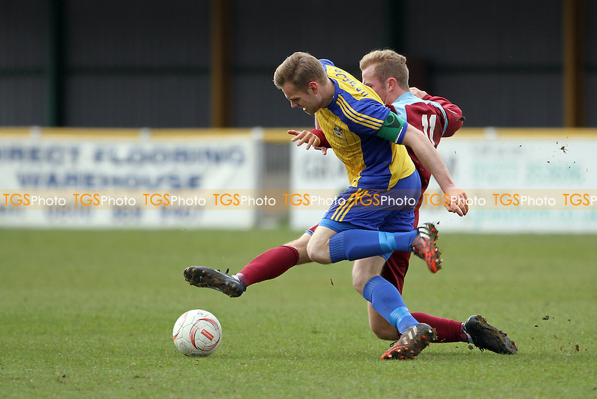 Jack Barry of Romford challenges for the ball - Romford vs Brentwood Town - Ryman League Division One North Football at Thurrock FC, Ship Lane, Purfleet - 04/04/15 - MANDATORY CREDIT: Mick Kearns/TGSPHOTO - Self billing applies where appropriate - contact@tgsphoto.co.uk - NO UNPAID USE