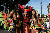 London, UK. 28 August 2017. Paraiso School of Samba. Notting Hill Carnival celebrations and parade on Bank Holiday Monday. The festival attacts over 1 million visitors and in 2017  it remembers the victims of the Grenfell Tower fire.