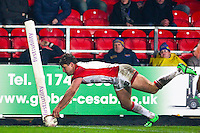 Picture by Alex Whitehead/SWpix.com - 28/03/2014 - Rugby League - First Utility Super League - St Helens v Leeds Rhinos - Langtree Park , St Helens, England - St Helens' Tommy Makinson scores a late second try.