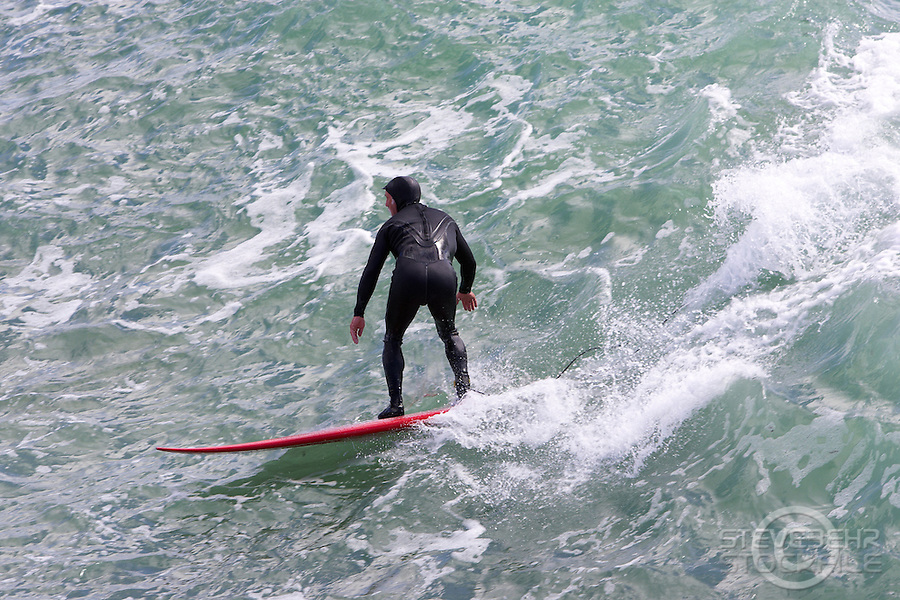 Surfing at Steamer Lane , Santa Cruz, California .  March 2006.  pic copyright Steve Behr / Stockfile