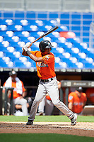 Miami Marlins Brayan Hernandez (23) at bat during a Florida Instructional League game against the Washington Nationals on September 26, 2018 at the Marlins Park in Miami, Florida.  (Mike Janes/Four Seam Images)