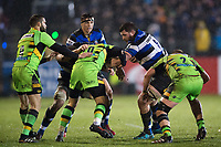 James Phillips of Bath Rugby takes on the Northampton Saints defence. Anglo-Welsh Cup Semi Final, between Bath Rugby and Northampton Saints on March 9, 2018 at the Recreation Ground in Bath, England. Photo by: Patrick Khachfe / Onside Images