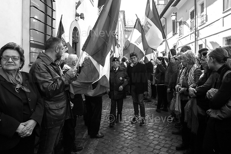"""Rodolfo Lai (Carabiniere & Antifascist Partizan. Member of the Partigiani: the Italian Resistance during WWII).<br /> <br /> Bella Ciao Tina Costa (Antifascist Partizan. Member of the Partigiani: the Italian Resistance during WWII).<br /> <br /> Rome, 22/03/2019. Today, a laic funeral was held at the Casa della Memoria e della Storia di Roma (House of Memory and History of Rome, 1.) to pay homage and respect to the Partizan and Member of the Italian Resistance during WWII, Tina Costa (2.), who passed away on the 20th of March 2019, at the age of 93. Tina Costa was a """"Staffetta Partigiana"""" - a Member of the Resistance against nazism and fascism - on the Gothic Line. After the end of WWII, Tina Costa became a member of the Italian Communist Party PCI until its dissolution in 1991. Soon after, she joined the newly formed Rifondazione Comunista party. In the meantime, Tina Costa has been a member of the board of the Associazione Nazionale Partigiani d'Italia ANPI (National Association of Italian Partizans, Members of the Italian Resistance), a tireless antifascist activist fighting and supporting the most deprived people in society, the minorities, and constantly sharing with people and students the lessons of Antifascism and of the Resistance.<br /> <br /> Footnotes and Links:<br /> 1. https://bit.ly/2UaGbLb<br /> 2. Some of my photos of Tina Costa can be found here: <br /> - https://bit.ly/2HgKFVZ (Mai Piú Fascismi Mai Piú Razzismi Demo) <br /> - https://bit.ly/2kO5wqg (25 Aprile - Liberation/Freedom Day) <br /> - https://bit.ly/2u1pMJj (In a School: """"Distretto dei Diritti e della Costituzione"""") <br /> - https://bit.ly/2FQPaZg (Roma Pride) <br /> - https://bit.ly/2CPJyfQ (Renoize Festival) <br /> - https://bit.ly/2qC4ZuE (Opposing fascists at San Lorenzo) <br /> - https://bit.ly/2VfUTx6 (Mario Fiorentini: 100th Birthday) <br /> - https://bit.ly/2uL8bpz (Demo for Social Justice & Solidarity, Against mafias, Inequality, Racism)<br /> - https://bit.ly/2YKt6qz (Roma & Rom"""