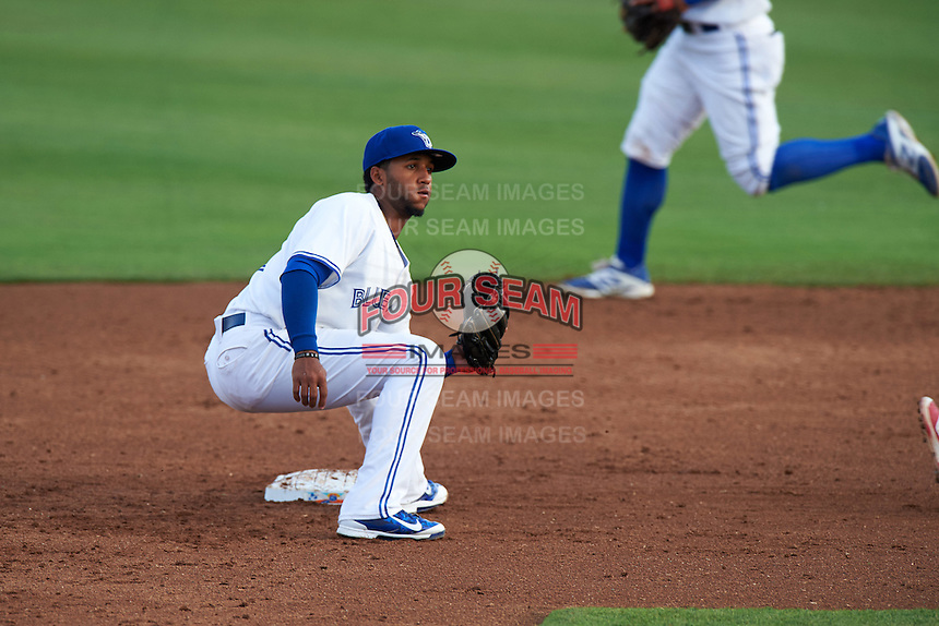 Dunedin Blue Jays shortstop Richard Urena (5) waits for a throw during a game against the Palm Beach Cardinals on April 15, 2016 at Florida Auto Exchange Stadium in Dunedin, Florida.  Dunedin defeated Palm Beach 8-7.  (Mike Janes/Four Seam Images)
