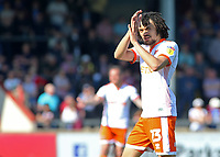 Blackpool's Nya Kirby applauds the fans as he is substituted<br /> <br /> Photographer David Shipman/CameraSport<br /> <br /> The EFL Sky Bet League One - Scunthorpe United v Blackpool - Friday 19th April 2019 - Glanford Park - Scunthorpe<br /> <br /> World Copyright © 2019 CameraSport. All rights reserved. 43 Linden Ave. Countesthorpe. Leicester. England. LE8 5PG - Tel: +44 (0) 116 277 4147 - admin@camerasport.com - www.camerasport.com