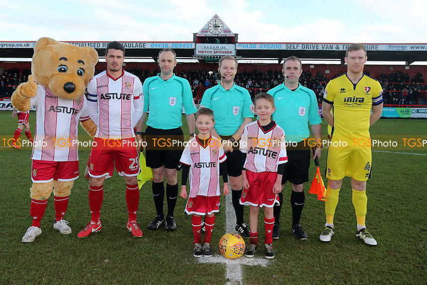 Pre-match line up during Stevenage vs Cheltenham Town, Sky Bet EFL League 2 Football at the Lamex Stadium on 1st January 2018