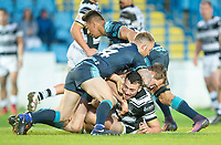 Picture by Allan McKenzie/SWpix.com - 10/05/2018 - Rugby League - Ladbrokes Challenge Cup - Featherstone Rovers v Hull FC - LD Nutrition Stadium, Featherstone, England - Hull FC's Jake Connor is tackled by Featherstone's Matty Wildie & Misi Taulapapa.