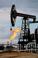 A Pumping unit in the oil fields near Niznevartovsk. Khanty Mansiysk, Western Siberia, Russia.