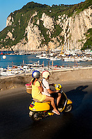 Couple on scooter, Capri, Italy Couple on scooter, Capri, Italy