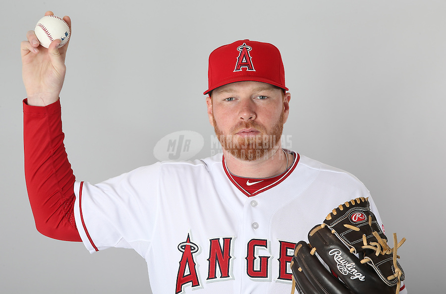 Feb. 21, 2013; Tempe, AZ, USA: Los Angeles Angels pitcher Tommy Hanson poses for a portrait during photo day at Tempe Diablo Stadium. Mandatory Credit: Mark J. Rebilas-