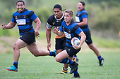 Vaughan Holdt brings the ball back infield. Counties Manukau Premier Counties Power Club Rugby Round 2, Game of the Week, between Te Kauwhata and Onewhero, played at Te Kauwhata on Saturday March 17th 2018. <br /> Photo by Richard Spranger.<br /> <br /> Onewhero won the game 43 - 10 after leading 21 - 10 at halftime.<br /> Te Kauwhata EnviroWaste  10 - Lani Latu try,  Caleb Brown 1 conversion, Caleb Brown 1 penalty.<br /> Onewhero 43 - Jackson Orr 2, Ilaisa Koaneti 2, Vaughan Holdt, Zac Wootten, Rhain Strang tries, Vaughan Holdt 4 conversions.