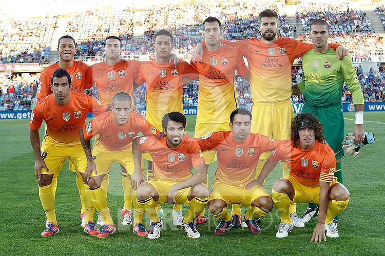 FC Barcelona's team phot with Adriano Correia, Pedro Rodriguez, Thiago Alcantara, Sergio Busquets, Gerard Pique, Victor Valdes, Martin Montoya, Cristian Tello, Cesc Fabregas, Xavi Hernandez and Carles Puyol during La Liga match.September 15,2012. (ALTERPHOTOS/Acero)