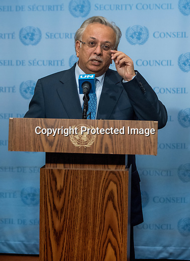 Saudi Arabia Ambassador Abdullah bin Yahya Almoalimi talk to press at the Stakeout, out side of SC in united Nations New York
