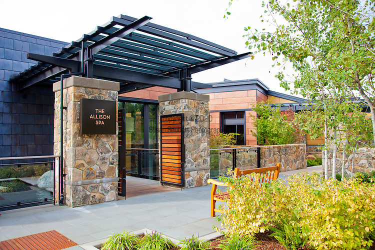 The entrance to the Spa at the Allison Inn in Newberg, Oregon, in the heart of Oregon Wine Country.