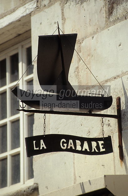 Europe/France/Pays de la Loire/Maine-et-Loire/Cunault : Enseigne représentant une Gabare en souvenir de Navigation fluviale sur la Loire