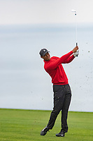 26th January 2020, Torrey Pines, La Jolla, San Diego, CA USA;  Tiger Woods iron shot during the final round of the Farmers Insurance Open at Torrey Pines Golf Club on January 26, 2020 in La Jolla, California.