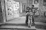 Shatila, UNRWA camp. Khaled, Tarek and Hussain (front) ar at the door of the only UNRWA school inside the camp. Due to limited space, schools shift classes: The &quot;Ramallah&quot; school for boys becomes the &quot;Hama&quot; school for girls in the afternoon. The sequence is changed every month.<br />  <br /> Chatila, camp de l'UNRWA. Khaled, Tarek et Hussein (premier plan) sont devant la seule &eacute;cole de l'UNRWA &agrave; l'int&eacute;rieur du camp. A cause de l'espace limit&eacute;, l'&eacute;cole &laquo;Ramallah&raquo; pour gar&ccedil;ons devient l'&eacute;cole &laquo;Hama&raquo; pour filles l'apr&egrave;s-midi. Chaque mois l'ordre est chang&eacute;...