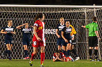 Western New York Flash forward Abby Wambach (20) reacts to missing a shot late in the game. Sky Blue FC defeated the Western New York Flash 1-0 during a National Women's Soccer League (NWSL) match at Yurcak Field in Piscataway, NJ, on April 14, 2013.