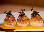 Urena Restaurant, Roasted Scallops, Amanita Olive and Tomato Salpicon, Rioja-red Beet Sauce, Avruga Caviar