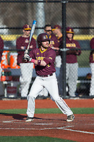 Fran Kinsey (4) of the Iona Gaels at bat against the Rutgers Scarlet Knights at City Park on March 8, 2017 in New Rochelle, New York.  The Scarlet Knights defeated the Gaels 12-3.  (Brian Westerholt/Four Seam Images)