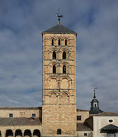 Bell tower, Iglesia de San Esteban (St Stephen's Church), 12th-13th centuries, Segovia, Castile and Leon, Spain. Late Romanesque sandstone church. Picture by Manuel Cohen