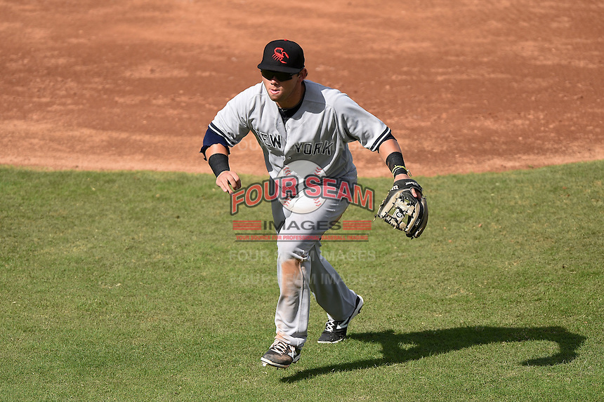 Scottsdale Scorpions infielder Dante Bichette Jr. (22) during an Arizona Fall League game against the Peoria Javelinas on October 18, 2014 at Surprise Stadium in Surprise, Arizona.  Peoria defeated Scottsdale 4-3.  (Mike Janes/Four Seam Images)