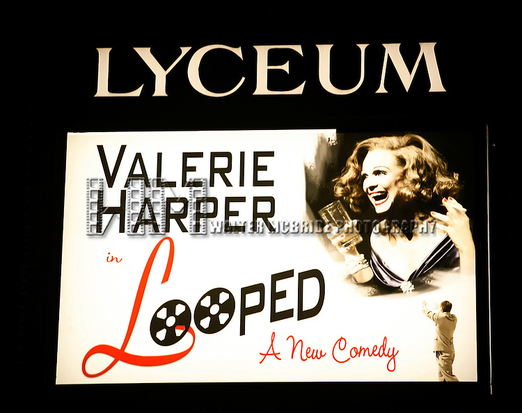 """Theatre Marquee for """"LOOPED"""" at the Lyceum Theatre in New York City. Valerie Harper star as Talullah Bankhead in a play by Matthew Lombardo, under the direction of Rob Ruggiero. January 24, 2010."""