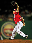 23 April 2010: Washington Nationals' pitcher Tyler Clippard on the mound in relief against the Los Angeles Dodgers at Nationals Park in Washington, DC. The Nationals defeated the Dodgers 5-1 in the first game of their 3-game series. Mandatory Credit: Ed Wolfstein Photo