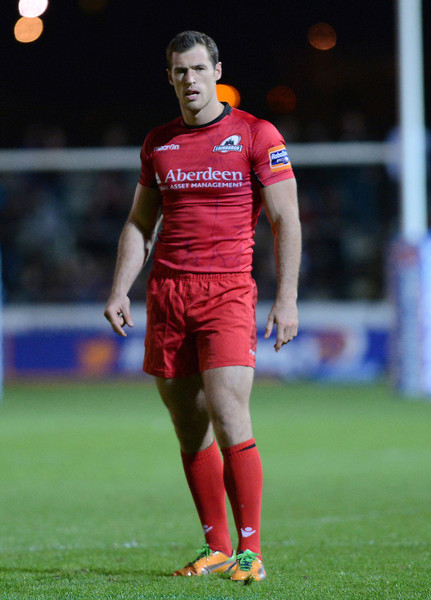 Edinburgh Rugby's Tim Visser during to the game ..Rugby Union - RaboDirect PRO12 - Newport-Gwent Dragons v Edinburgh Rugby - Friday 28th September 2012 -  Rodney Parade - Newport....