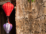 Silk lanterns and old wall, Hoi An, Vietnam