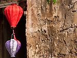 Silk lanterns and old wall, Hoi An, Vietnam