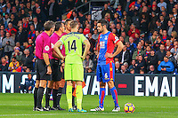 Captains and officials toss up during the EPL - Premier League match between Crystal Palace and Liverpool at Selhurst Park, London, England on 29 October 2016. Photo by Steve McCarthy.