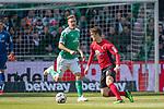 13.04.2019, Weser Stadion, Bremen, GER, 1.FBL, Werder Bremen vs SC Freiburg, <br /> <br /> DFL REGULATIONS PROHIBIT ANY USE OF PHOTOGRAPHS AS IMAGE SEQUENCES AND/OR QUASI-VIDEO.<br /> <br />  im Bild<br /> Lukas H&ouml;ler / Hoeler (SC Freiburg #09)<br /> Max Kruse (Werder Bremen #10)<br /> <br /> <br /> Foto &copy; nordphoto / Kokenge