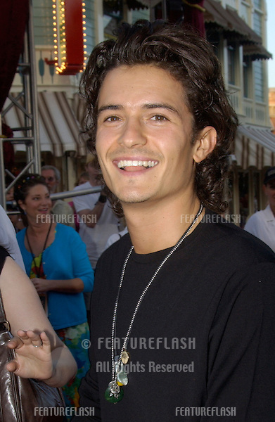 Actor ORLANDO BLOOM at the world premiere of his new movie Pirates of the Caribbean: The Curse of the Black Pearl, at Disneyland, California..June 28, 2003