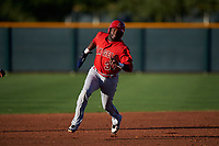 AZL Angels Cristian Gomez (37) runs to third base during an Arizona League game against the AZL D-backs on July 20, 2019 at Salt River Fields at Talking Stick in Scottsdale, Arizona. The AZL Angels defeated the AZL D-backs 11-4. (Zachary Lucy/Four Seam Images)