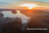 63895-16905 Sunrise and fog Stephen A. Forbes State Park-aerial-Marion Co. IL