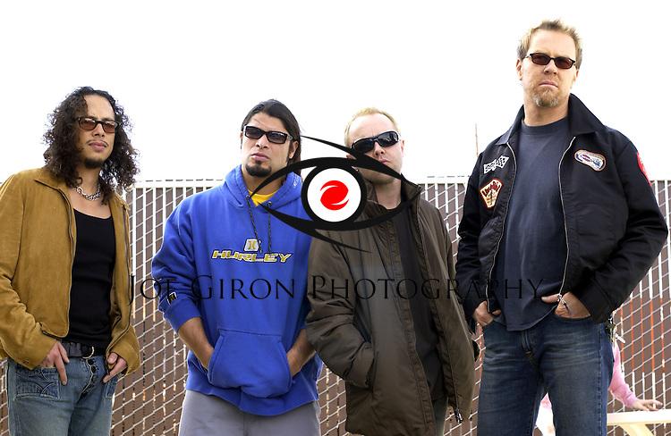 Various portraits of the rock band, Metallica.  James Hetfield, Lars Ulrich, Kirk Hammett & Robert Trujillo.