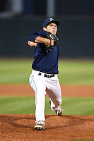 Cedar Rapids Kernels pitcher Brandon Bixler (21) delivers a pitch during a game against the Quad Cities River Bandits on August 18, 2014 at Perfect Game Field at Veterans Memorial Stadium in Cedar Rapids, Iowa.  Cedar Rapids defeated Quad Cities 4-2.  (Mike Janes/Four Seam Images)