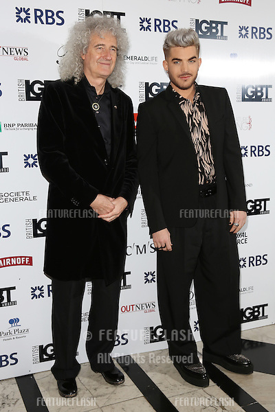 Brian May, Adam Lambert at The British LGBT Awards at the Grand Connaught Rooms, London.<br /> May 13, 2016  London, UK<br /> Picture: James Smith / Featureflash