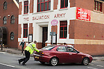 © Joel Goodman - 07973 332324 . 16 August 2013 . Manchester , UK . Insp Bailey-Smith pushes a broken down car to safety . Drive along with Inspector Matt Bailey-Smith ( 16366 ) of Greater Manchester Police 's Serious Collision Unit . Photo credit : Joel Goodman