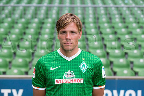 29.07.2013. Bremen, Germany.  The picture shows German Soccer Bundesliga club SV Werder Bremen's Clemens Fritz during the official photocall for the season 2013-14 in Bremen.