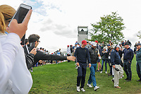 Jordan Spieth (USA) and Jason Day (AUS) make their way to 4 during round 3 Four-Ball of the 2017 President's Cup, Liberty National Golf Club, Jersey City, New Jersey, USA. 9/30/2017.<br /> Picture: Golffile | Ken Murray<br /> <br /> All photo usage must carry mandatory copyright credit (&copy; Golffile | Ken Murray)