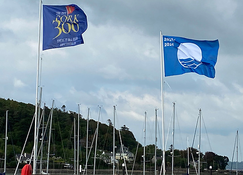 Royal Cork's Blue Flag for 2020 flies at the clubhouse in Cork Harbour
