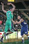 North Texas Mean Green forward Jacob Holmen (1) and Jackson State Tigers guard Dundrecous Nelson (5)in action during the game between the Jackson State Tigers and the North Texas Mean Green at the Super Pit arena in Denton, Texas. UNT defeats Jackson State 83 to 65...